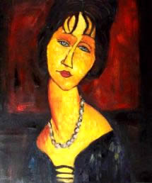 Modigliani FAKE PAINTING - Jean  HEBUTERNE WITH NECKLACE