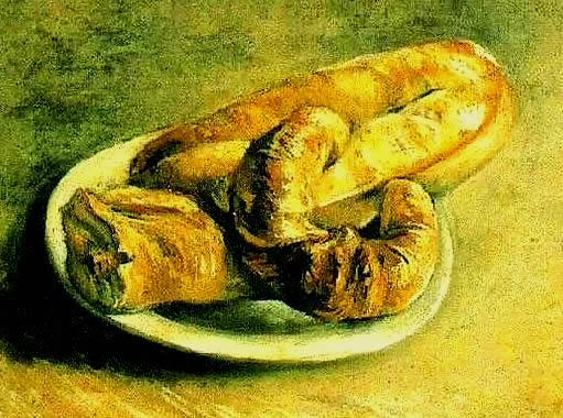 Fake Van Gogh's still life with bread roll
